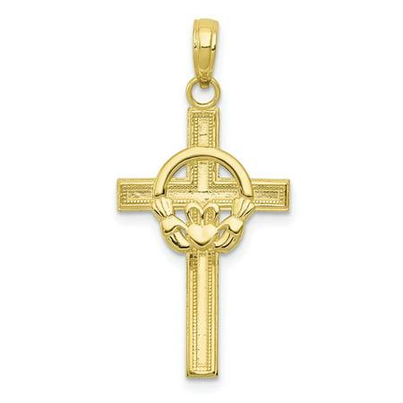10k Yellow Gold Polished Claddagh Cross Pendant Fine Jewelry Ideal Gifts 10k Gold Polished Cross Pendant