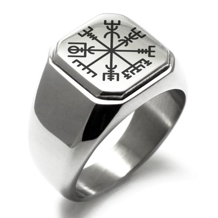 Stainless Steel Vegvisir Viking Compass Engraved Square Flat Top Biker Style Polished Signet (Stainless Steel Square Ring)