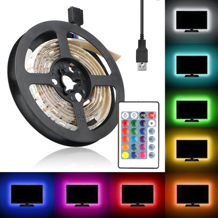- TSV RGB LED Light Strip, USB Powered 5V SMD 5050 Flexible Waterproof TV Back light with 24 Keys Remote Control for TV Background Lighting PC Notebook Home Decoration - 3.28ft/1M