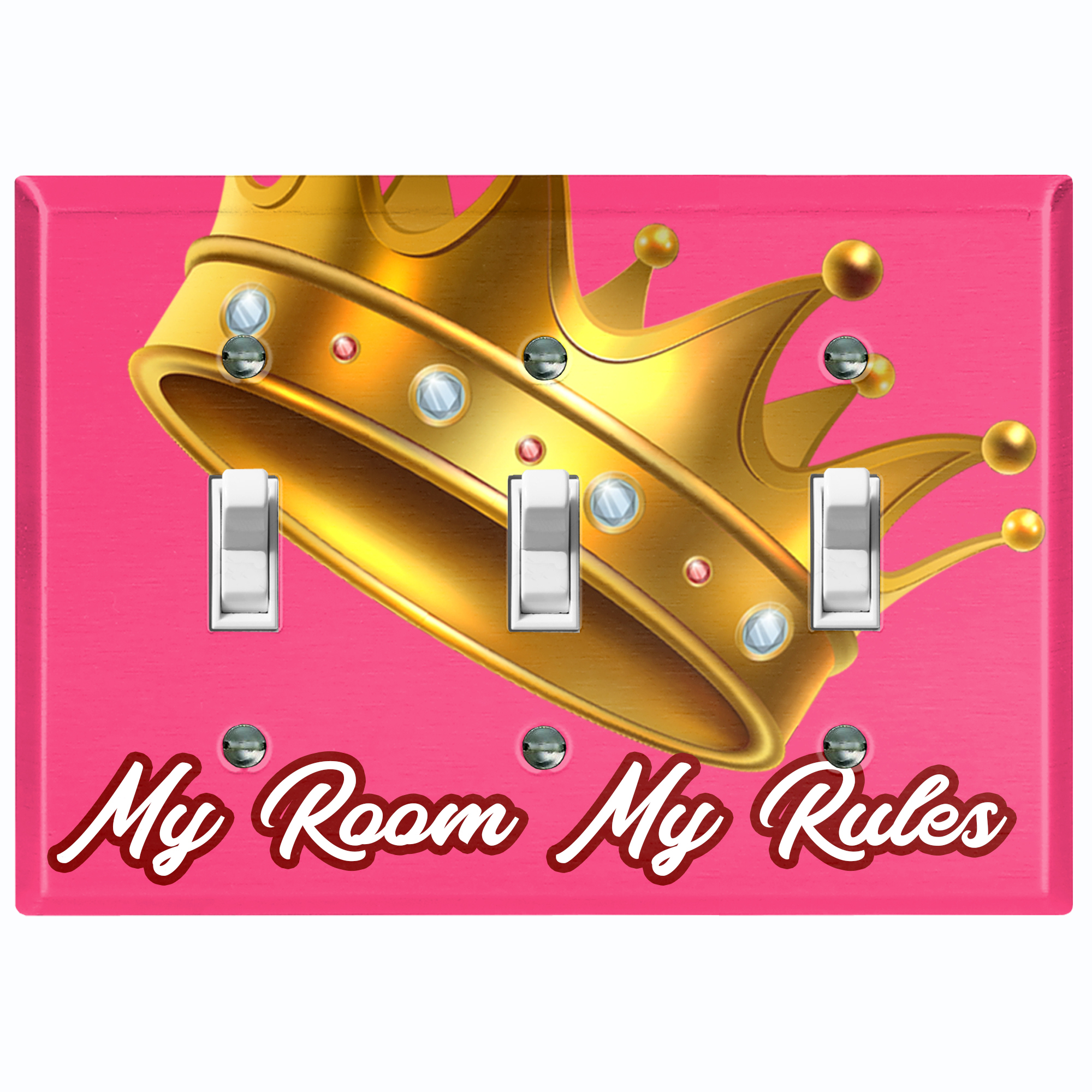Metal Light Switch Plate Outlet Cover My Room My Rules Crown Pink Tilted Triple Toggle Walmart Com Walmart Com