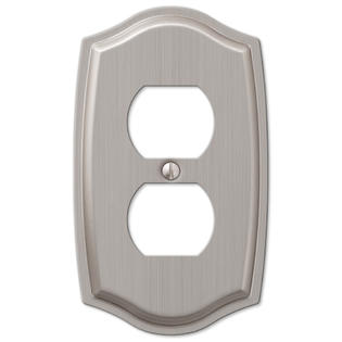 1 Duplex Outlet Wall Plate Cover - Brushed Nickel
