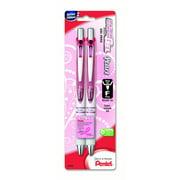 PINK BCA EnerGel Pearl Retractable (0.5mm) Needle Tip, Fine Line, Pink Accent, Black Ink 2-Pk