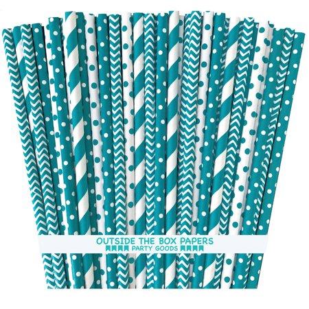 Teal Blue and White Stripe, Chevron, Polka Dot Paper Straws  100 - White Straws