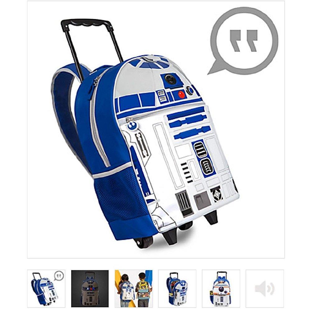 Disney r2-d2 talking light-up rolling backpack - new