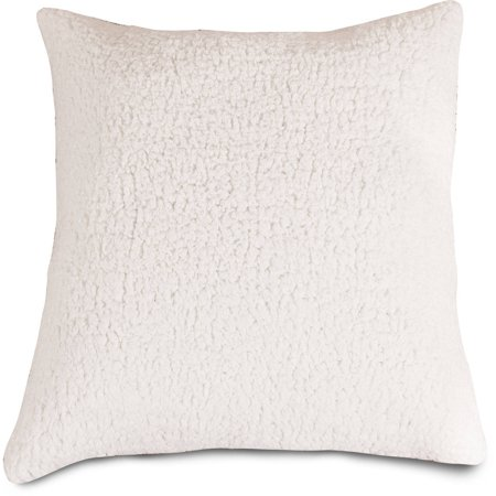 Majestic Home Goods Solid Cream Sherpa Large Decorative Pillow, 20