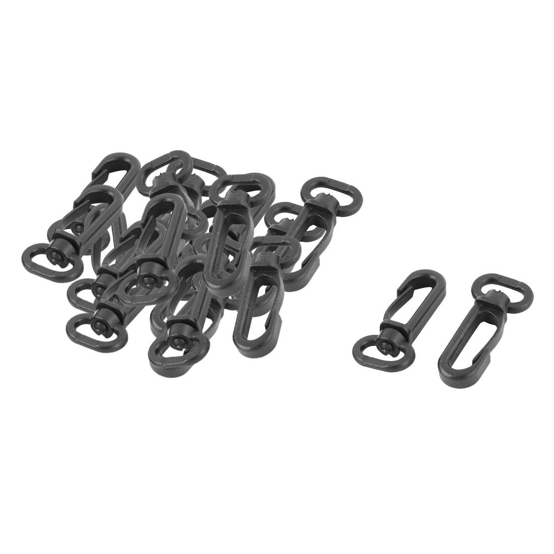 Bag Accessory Plastic Belting Trigger Clips Swivel Snap Hook Buckle Black 20pcs