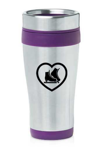 Purple 16oz Insulated Stainless Steel Travel Mug Heart Ice Skates,MIP by