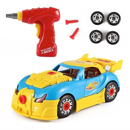 fmt world racing car take-a-part toy for kids with 30 take apart pieces, tool drill, lights and (World Series Of Asphalt Stock Car Racing)