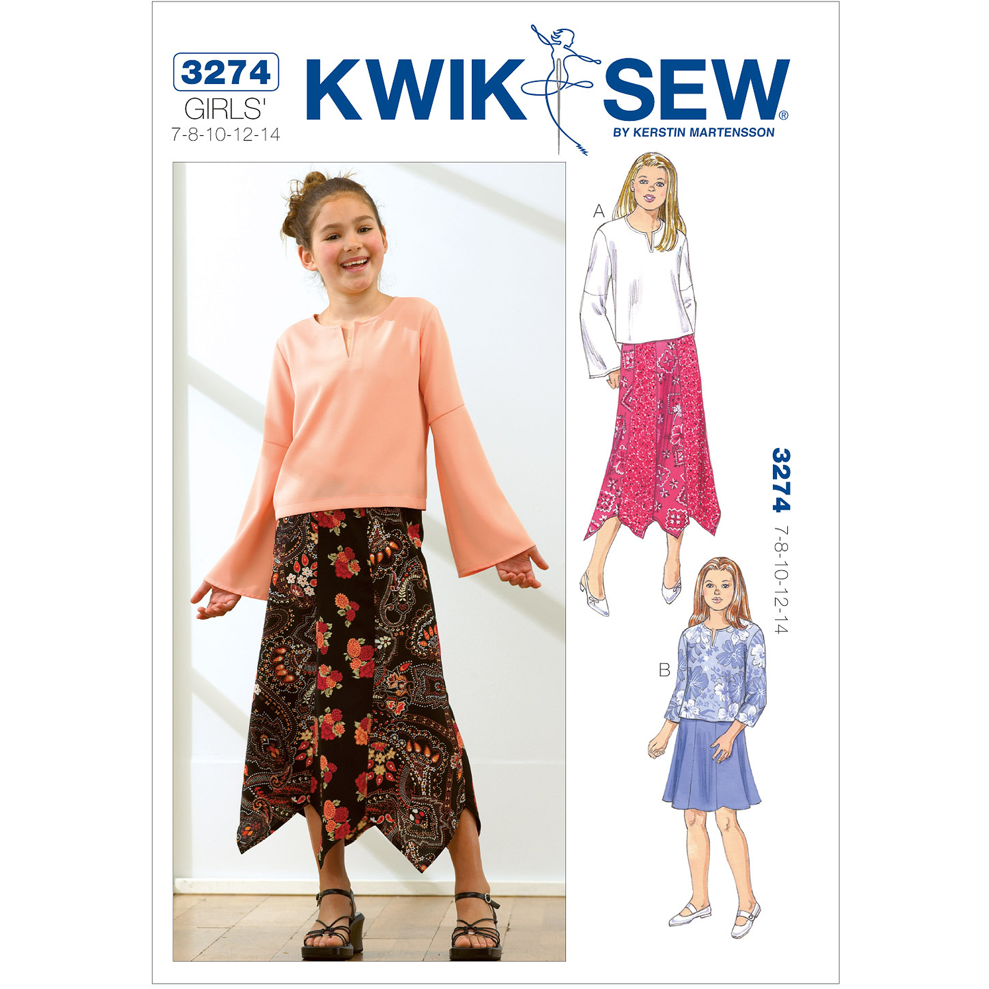 Kwik Sew Pattern Tops and Skirts, (7, 8, 10, 12, 14)