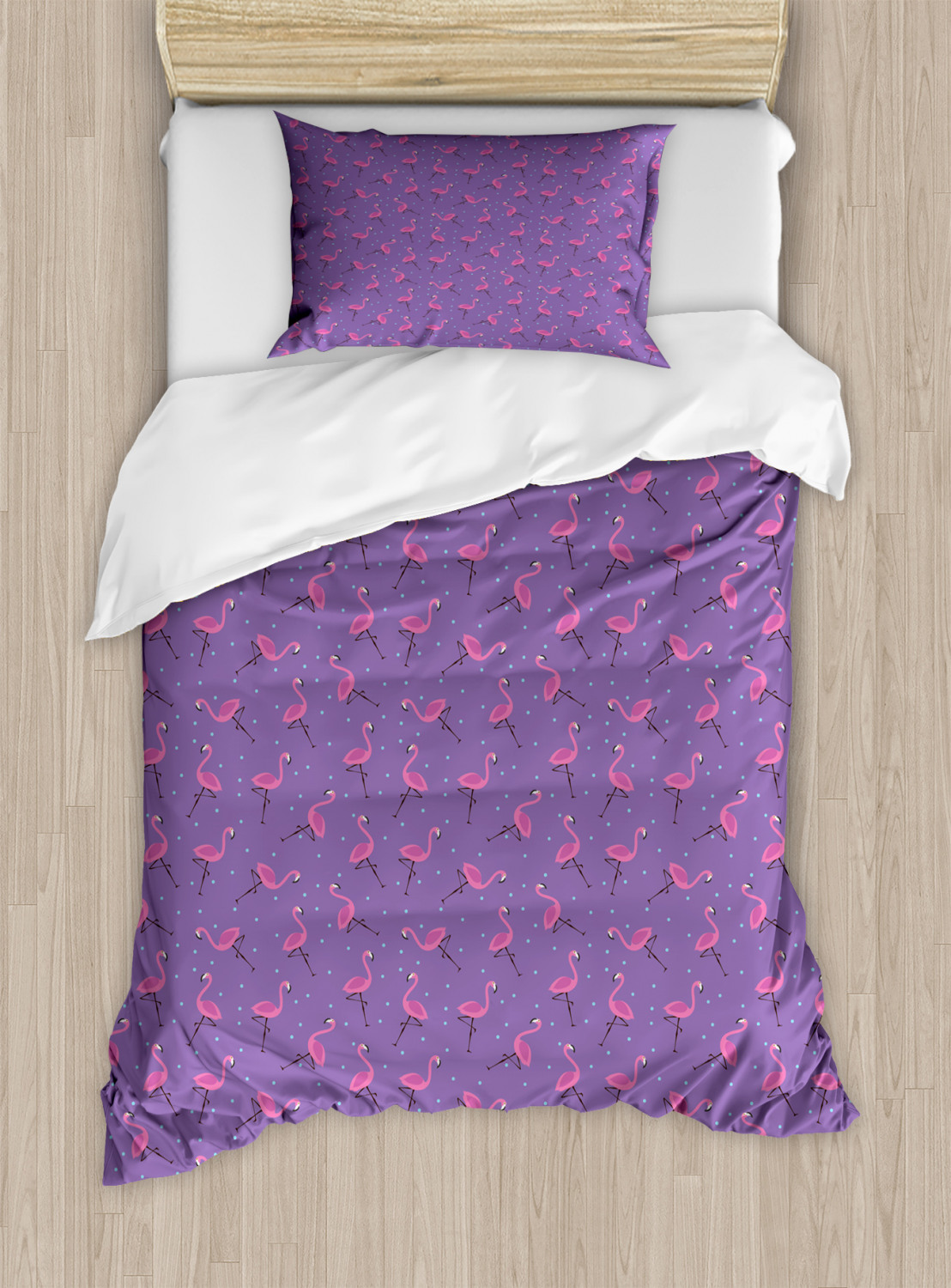 Twin Ambesonne Flamingo Fitted Sheet /& Pillow Sham Set Dotted Purple Background with Pink Exotic Birds Kids Girls Design Decorative Printed 2 Piece Bedding Decor Set Purple Magenta