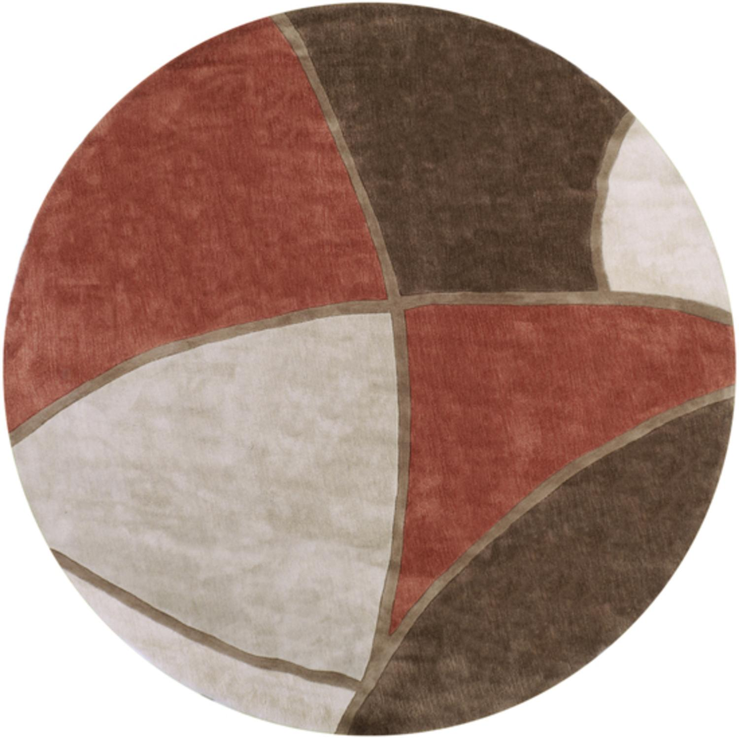 8' Triantan Chocolate, Brick and Gray Hand Tufted Round Area Throw Rug