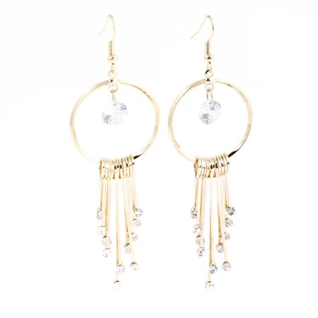 Ladies Bar Drop Pendant Round Eardrop Fish Hook Earrings Gold Tone