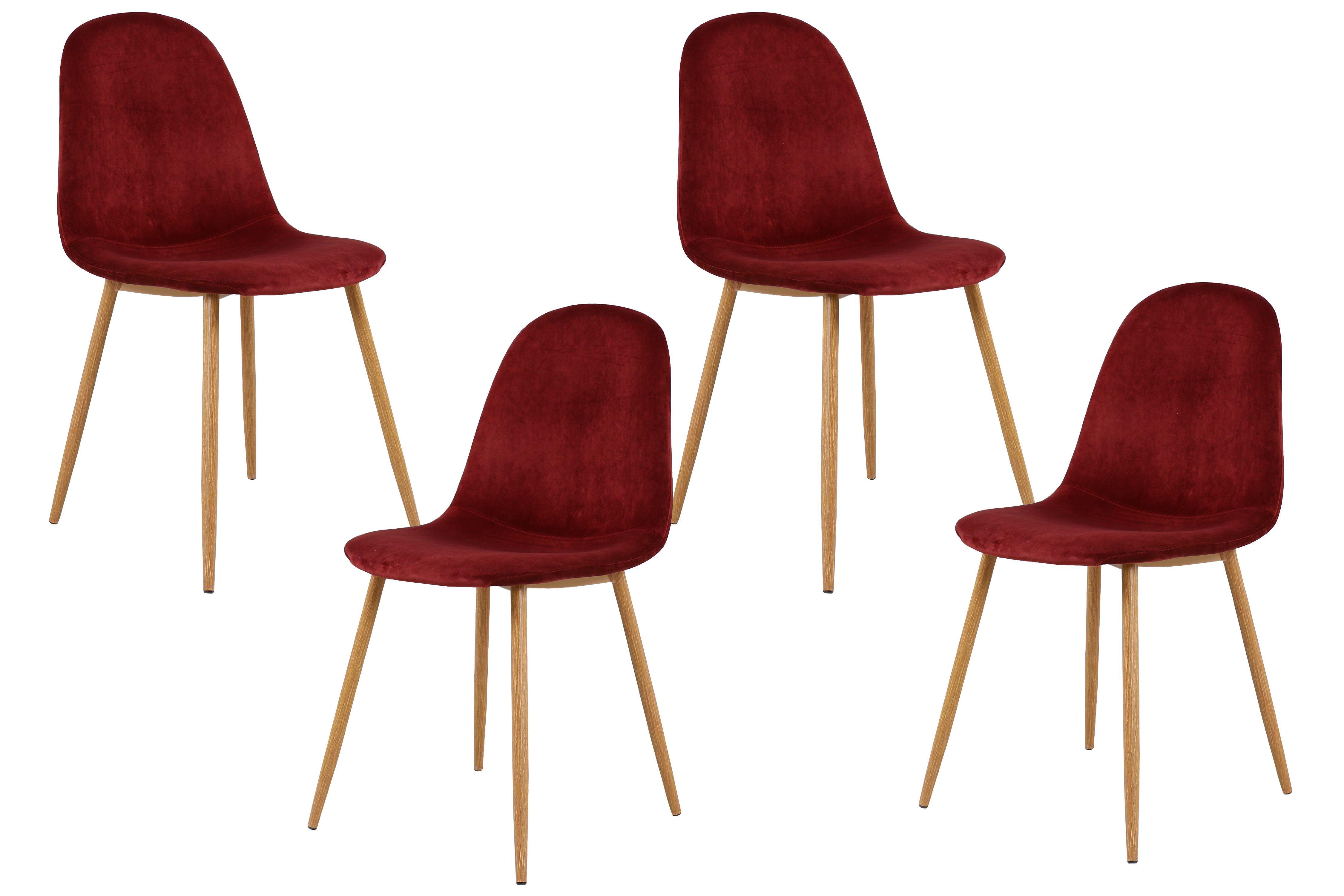 Best Master Furniture Morgan Velvet Side Chairs Set Of 4 Burgundy Walmart Com Walmart Com