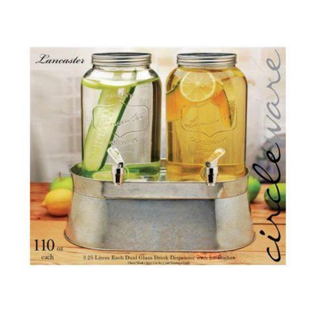 120 oz Lancaster Mini Dual Drink Dispenser with Chrome Color Spigot - Metal Lid ()