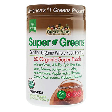 Country Green - 2 Pack Country Farms Super Green Drink Mix Delicious Chocolate Flavor 10.6 oz ea