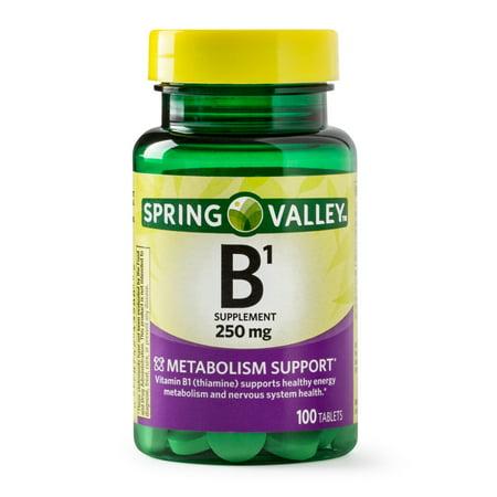 (2 Pack) Spring Valley Vitamin B1 Tablets, 250 mg, 100