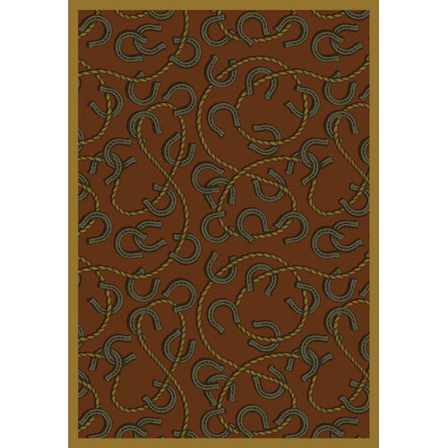Joy Carpets Whimsy Rodeo Rust Brown/Black Area Rug