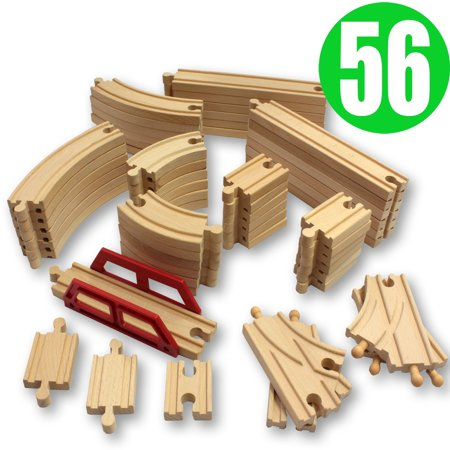 ToysOpoly Wooden Train Tracks 56 Piece Pack - 100% Compatible with ...