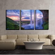 """wall26 - 3 Piece Canvas Wall Art - Seljalandfoss Waterfall at Sunset, Iceland Horizontal Shot - Modern Home Decor Stretched and Framed Ready to Hang - 24""""x36""""x3 Panels"""