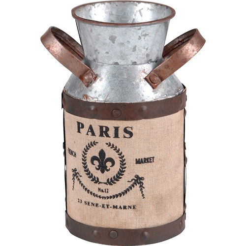 Wilco Small Galvanized Metal Milk Can Decor, Grey, Brown and Creme