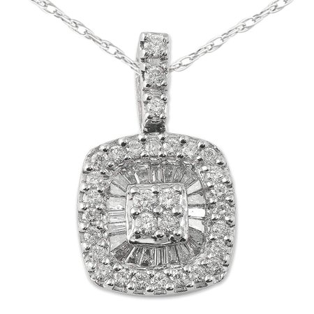Diamond Round & Baguette Shape Pendant 0.75 ct tw in 14K White Gold with 18 Inches 14K White Gold