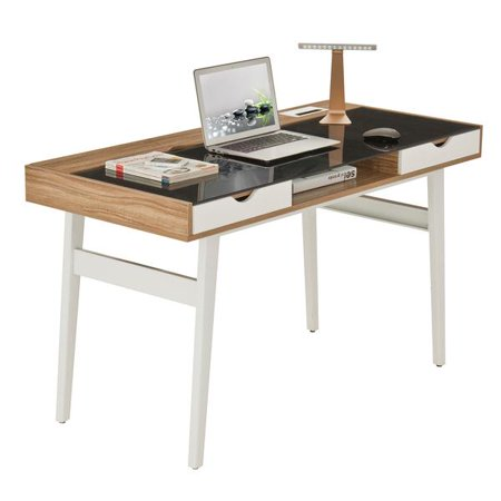 Techni Mobili Compact Modern Computer Office Desk with Glass Top and Storage RTA-2335, Walnut