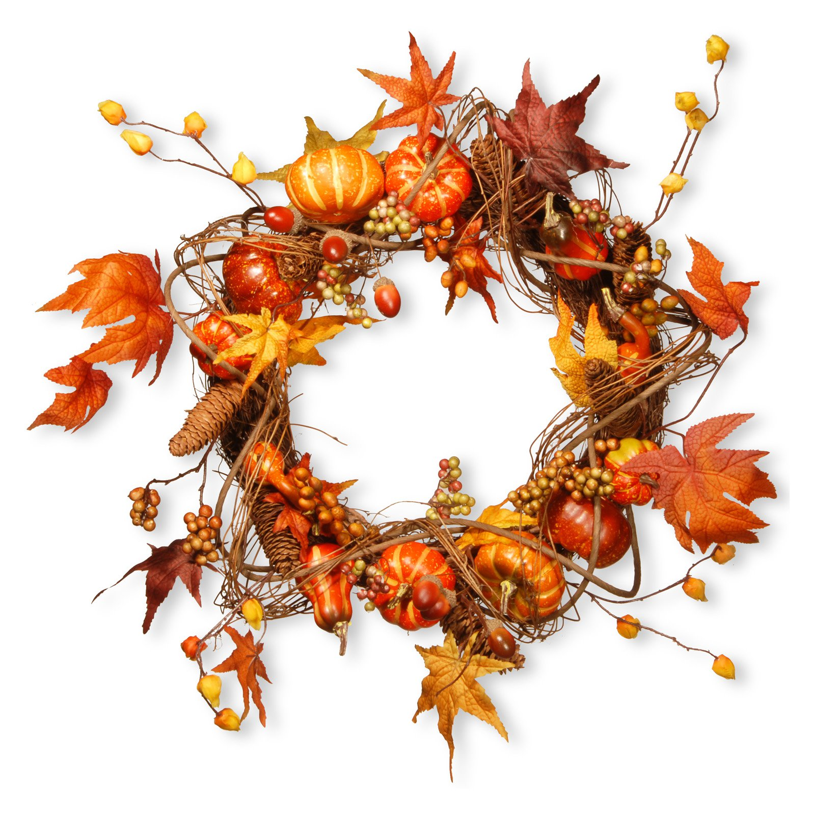 "20"" Maple and Pumpkin Wreath"