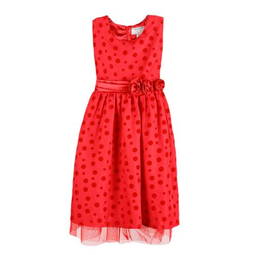 Girls Red Two Tone Polka Dotted Waist Flower Dress 9-11