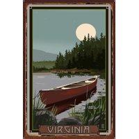 """Virginia Canoe In Moonlight Rustic Metal Art Print by Mike Rangner (24"""" x 36"""")"""