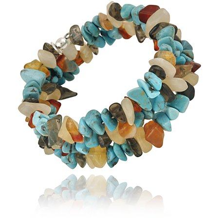 Aragonite, Created Turquoise, Carnelian and Smoky Quartz Chips Sterling Silver Coil Bracelet
