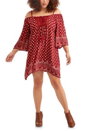 Women's Plus Border Print Cold Shoulder Boho Shift Dress