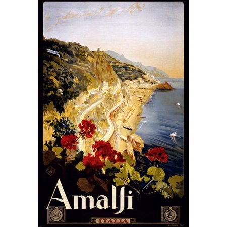 - Italy Vintage Travel Poster Amalfi 1910 - 1920 Rare Hot New 24X36
