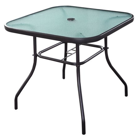 Costway 32 1/2'' Patio Square Bar Dining Table Glass Deck Outdoor Furniture Garden Pool Glass Top Patio Tables