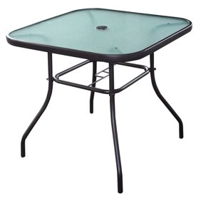 Costway 37 1 2 Square Dining Table Glass Top Deck Patio Yard