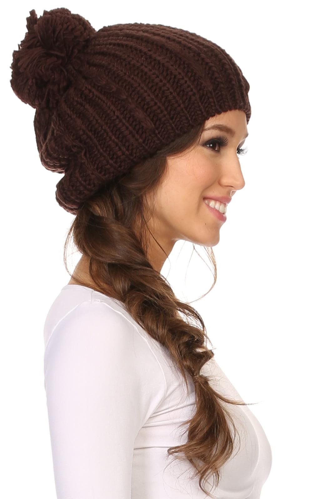 edbd71128b6 Sakkas Lax Wide Unisex Cable Knit Large Pom Pom Bobble Beanie Hat Cap -  Brown - OS - Walmart.com