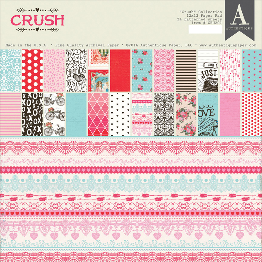 Authentique Paper Double-Sided Paper Pad, 12 by 12-Inch, Crush, 24-Pack Multi-Colored