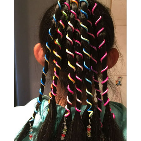 Fascigirl 12Pcs Creative DIY Spiral Bead Hair Clip Wrap Hair Braider Strings Ropes Hair Styling Accessories for Kids Girls Child - Creative Labs Clip