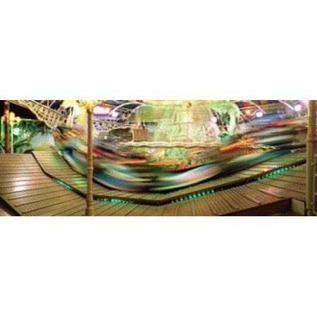 Carousel in motion Amusement Park Stuttgart Germany Stretched Canvas - Panoramic Images (36 x -