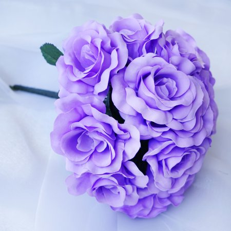 BalsaCircle 4 Velvet Roses Bouquets Bridal Flowers - DIY Home Wedding Party Artificial Bouquets Arrangements Centerpieces - Lavender Centerpieces