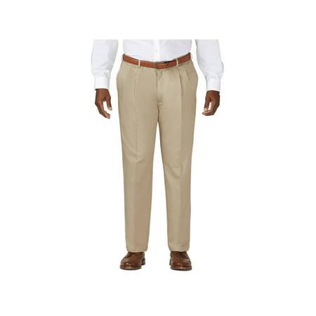 Pleated Brushed Twill Slack - Haggar Men's Big & Tall Work to Weekend®Khaki Pleat Pant Classic Fit 41714957524