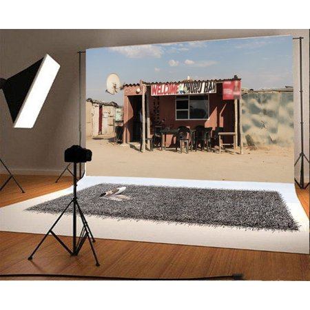 - HelloDecor Polyster 7x5ft West Cowboy Backdrop Rustic Old Bar Gloomy Chairs Shabby House Peeled Concrete Wall Sunshine Blue Sky White Cloud Nature Photography Background Kids Adults Photo Studio Props