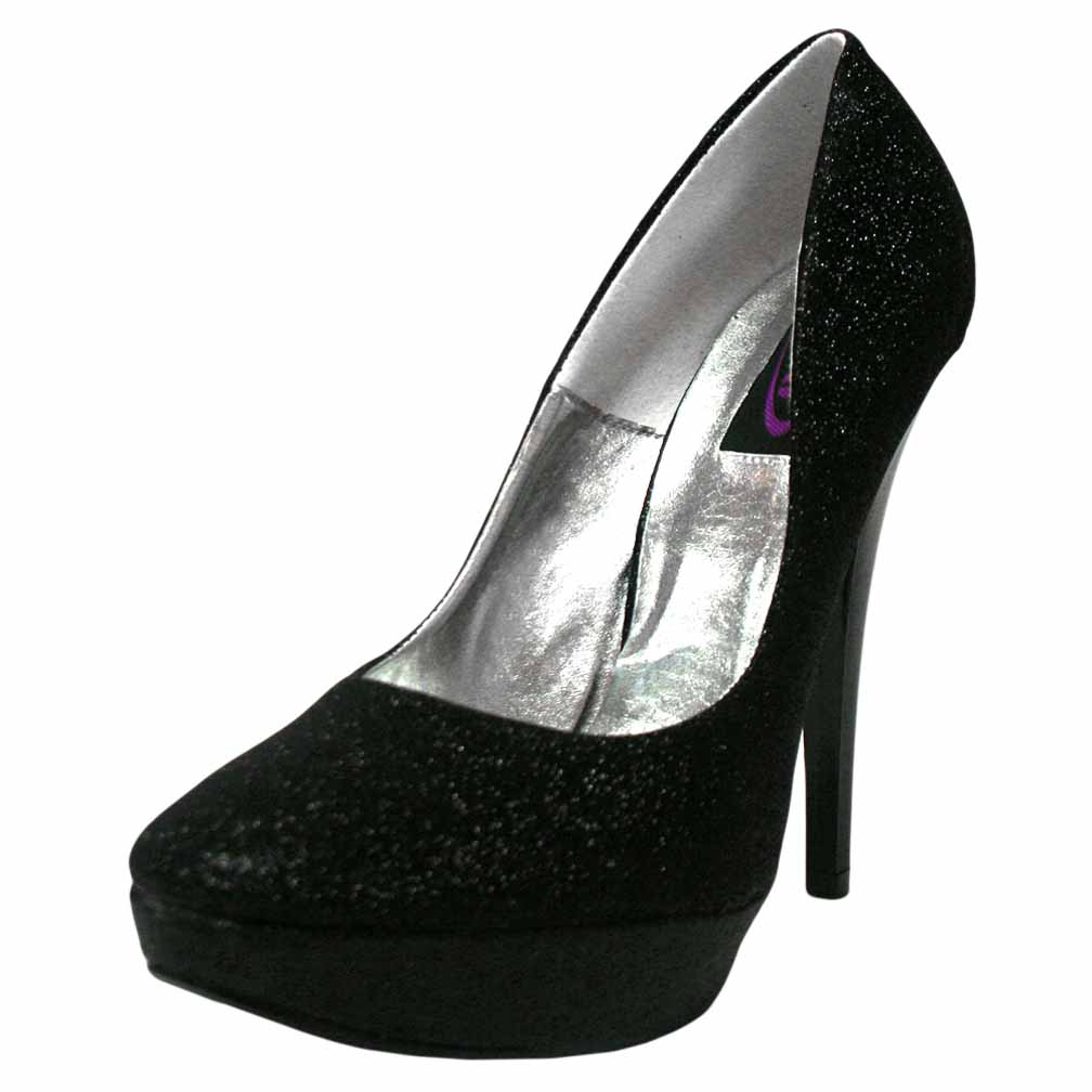 Black Glitter Platform Womens High Heel Pumps