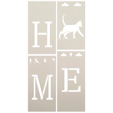 Home with Cat - Vertical - Porch Sign - 4 Part Stencil by StudioR12 | Reusable Mylar Template | Use to Paint Wood Signs - Pallets - Banners - DIY Animal Lover Home Decor - Select Size (2.5