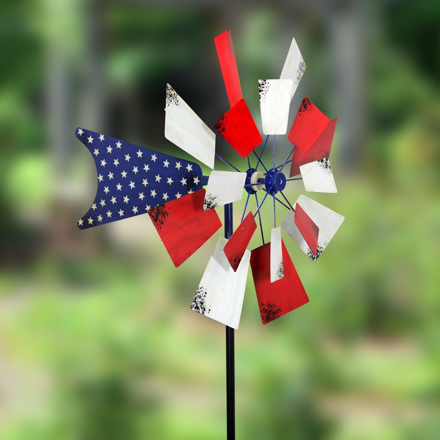 Exhart 24 inch Patriotic Kinetic Windmill Garden Stake