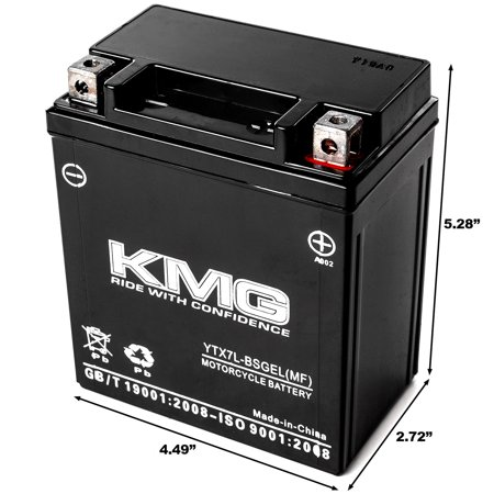 KMG 12 Volts 7Ah Replacement Battery for Kawasaki EX250 Ninja 1995-2007 - image 1 de 3