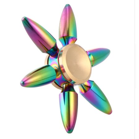 Toys For Autism (Rainbow Bullet Finger Brass Spinner For Autism And ADHD Anxiety Stress Relief Focus)