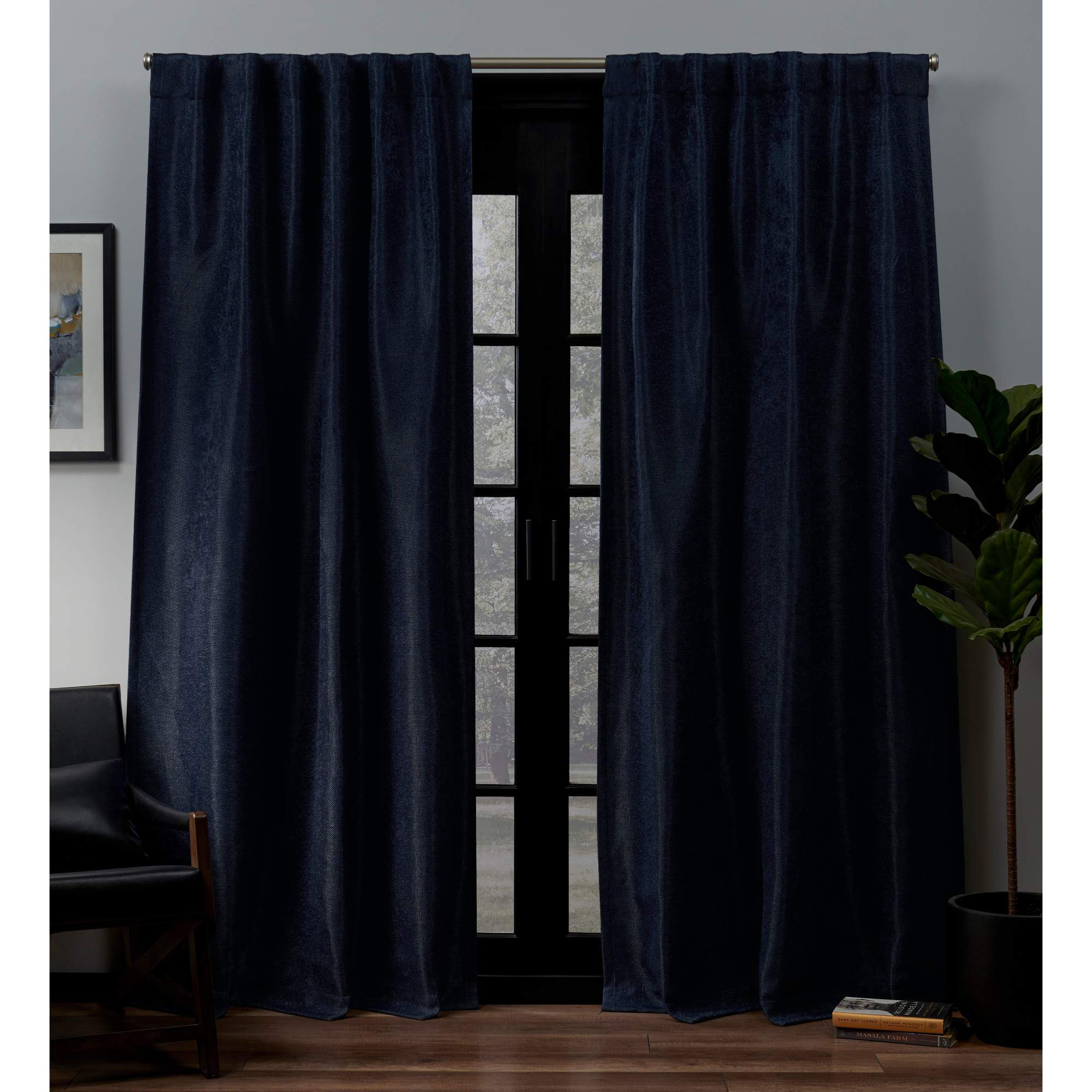 Exclusive Home Lancaster Woven Blackout Hidden Tab Curtain Panel Pair