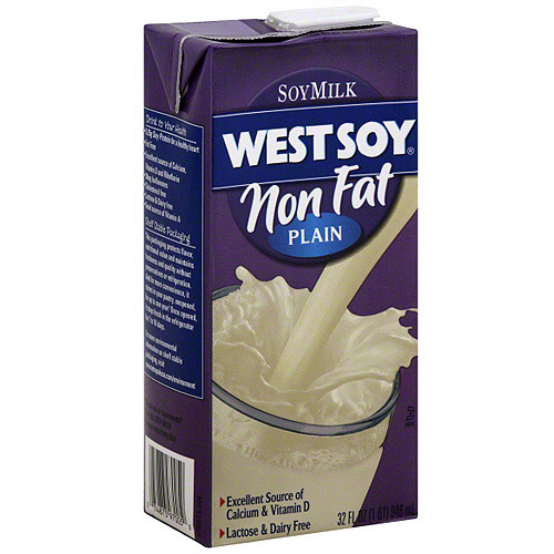 West Soy Plain Non Fat Soy Milk, 32 oz (Pack of 12)