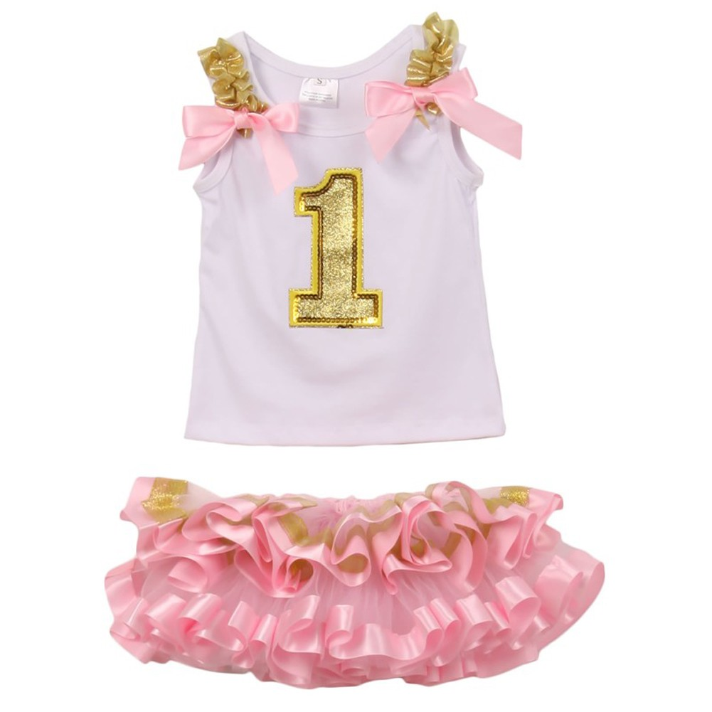 Little Girls White Pink Gold Birthday Number 2 Pc Tutu Skirt Outfit 12M-3T