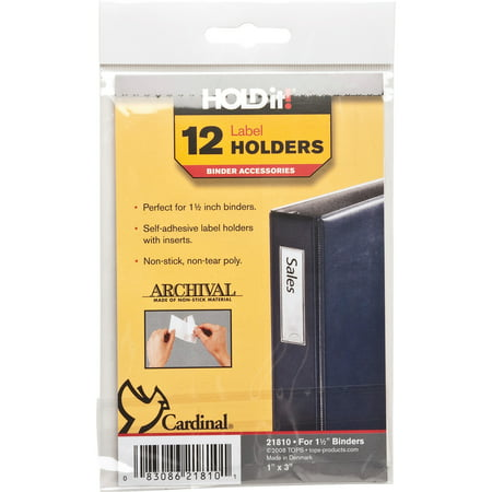 Cardinal HOLDit! Self-Adhesive Label Holders for 2 inch Binders